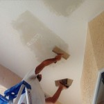 Mudding ceiling repair to match knockdown texture sponge